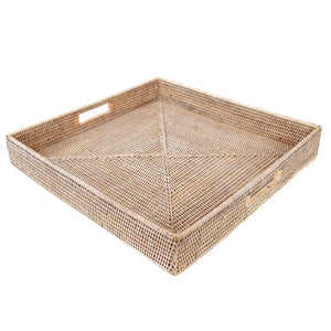 "16"" Artifacts Rattan Square Serving/Ottoman Tray"