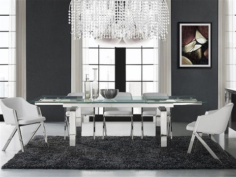 Modern Dining Table with Chrome Legs and Clear Glass Top