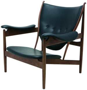 Grande Black Leather Lounge Chair in American Ash with Walnut Stain by Nuevo - HGEM516