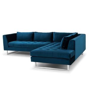 Janis Sectional Sofa + Chair in Midnight Blue Velour by Nuevo