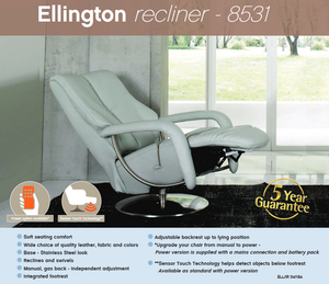 Ellington Recliner Chair with Integrated Footrest by Himolla Germany - Affordable Modern Furniture at By Design