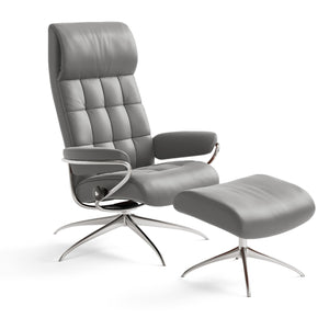Stressless London High-Back with High Base Chair and Ottoman by Ekornes - Affordable Modern Furniture at By Design