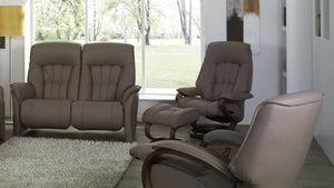 Rhine Curved Recliner Loveseat with Integrated Footrest + bydesigntexas.com