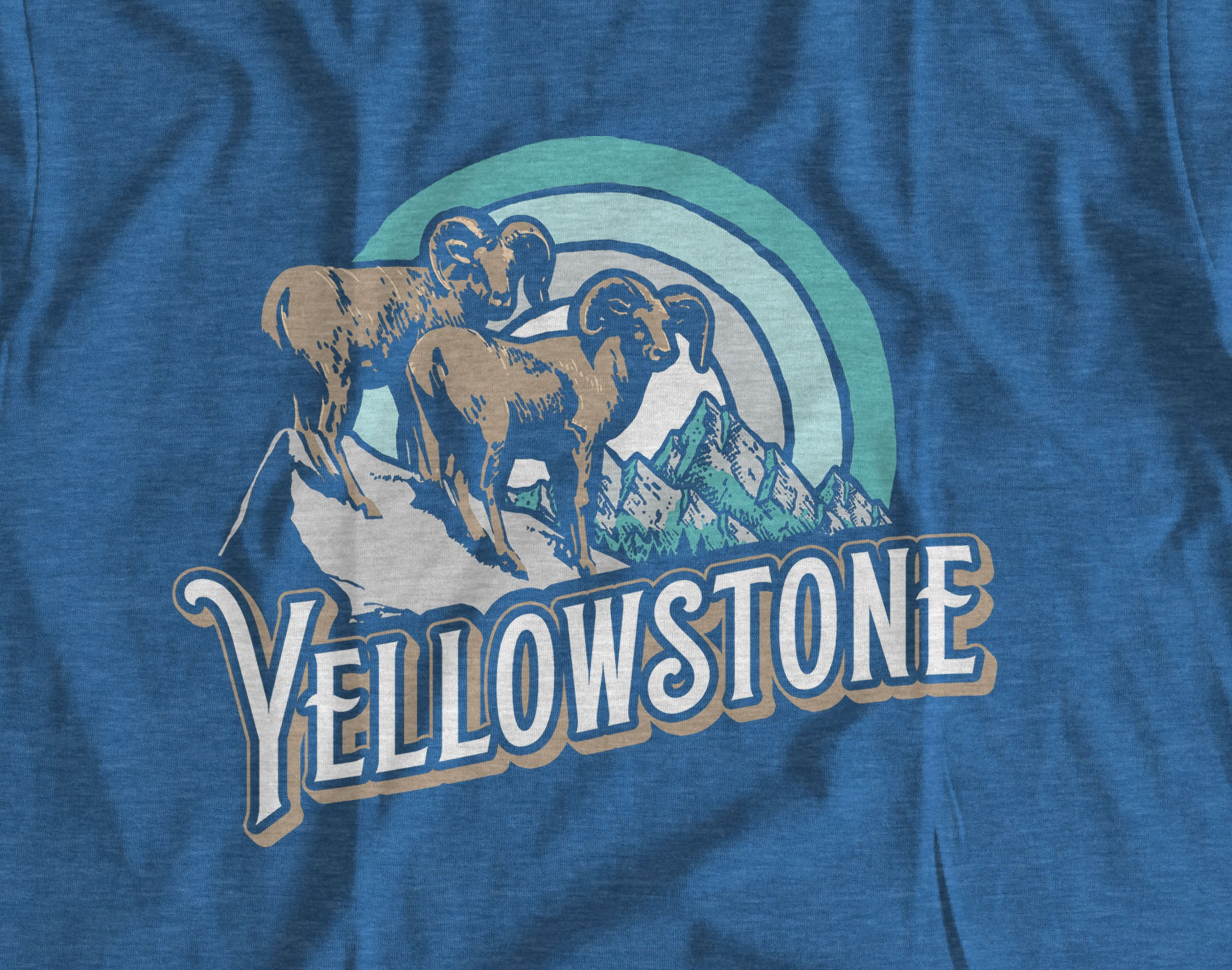 Yellowstone Big Horn Sheep Retro Design Short-Sleeve Unisex T-Shirt