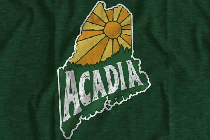Acadia National Park Maine Hand Lettering T-Shirt (Color: Heather Forest Green)