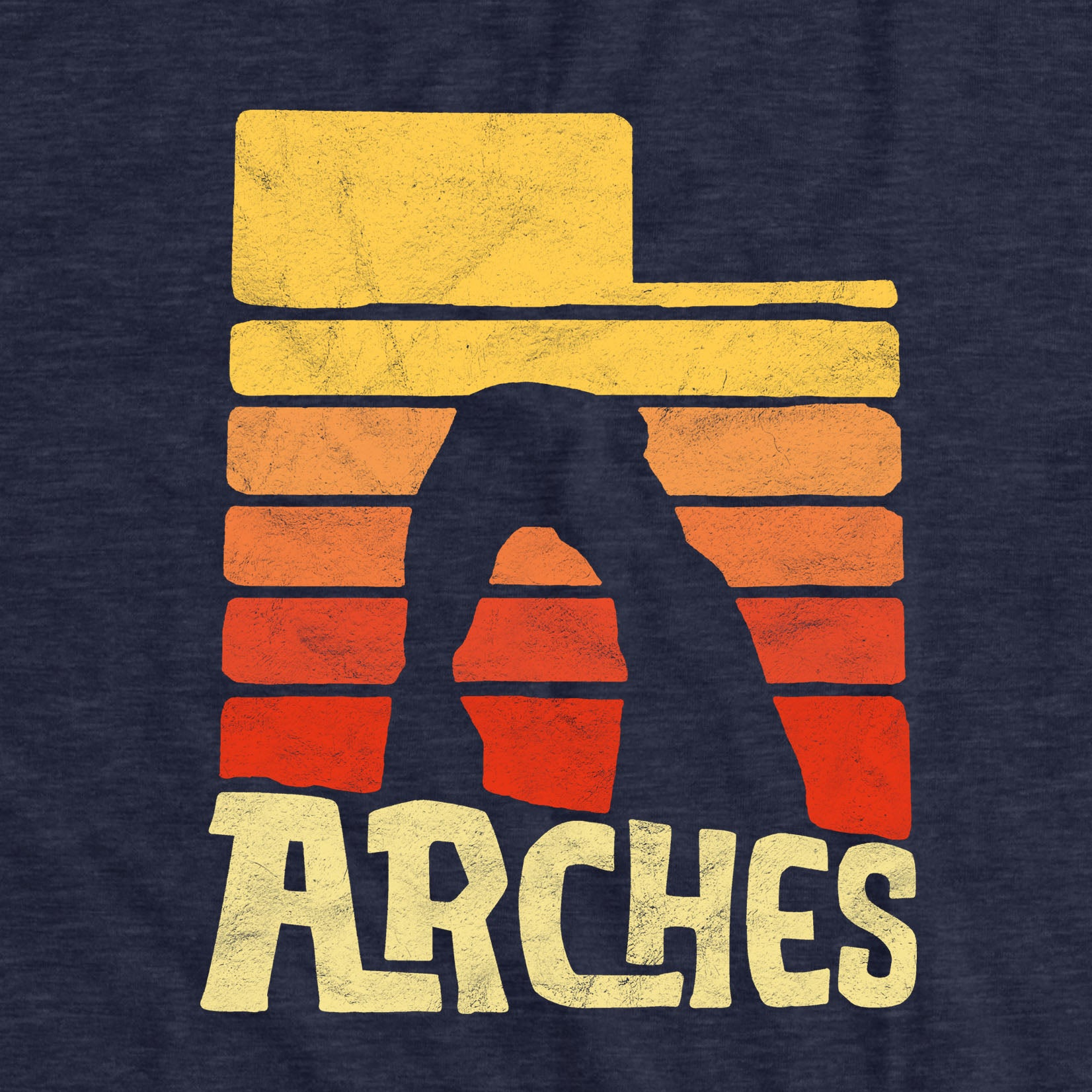 Arches National Park Utah Graphic Design Short-Sleeve Unisex T-Shirt (Heather Navy Color)