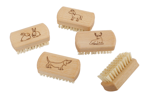 Kids Wooden Nail Brush- Animals