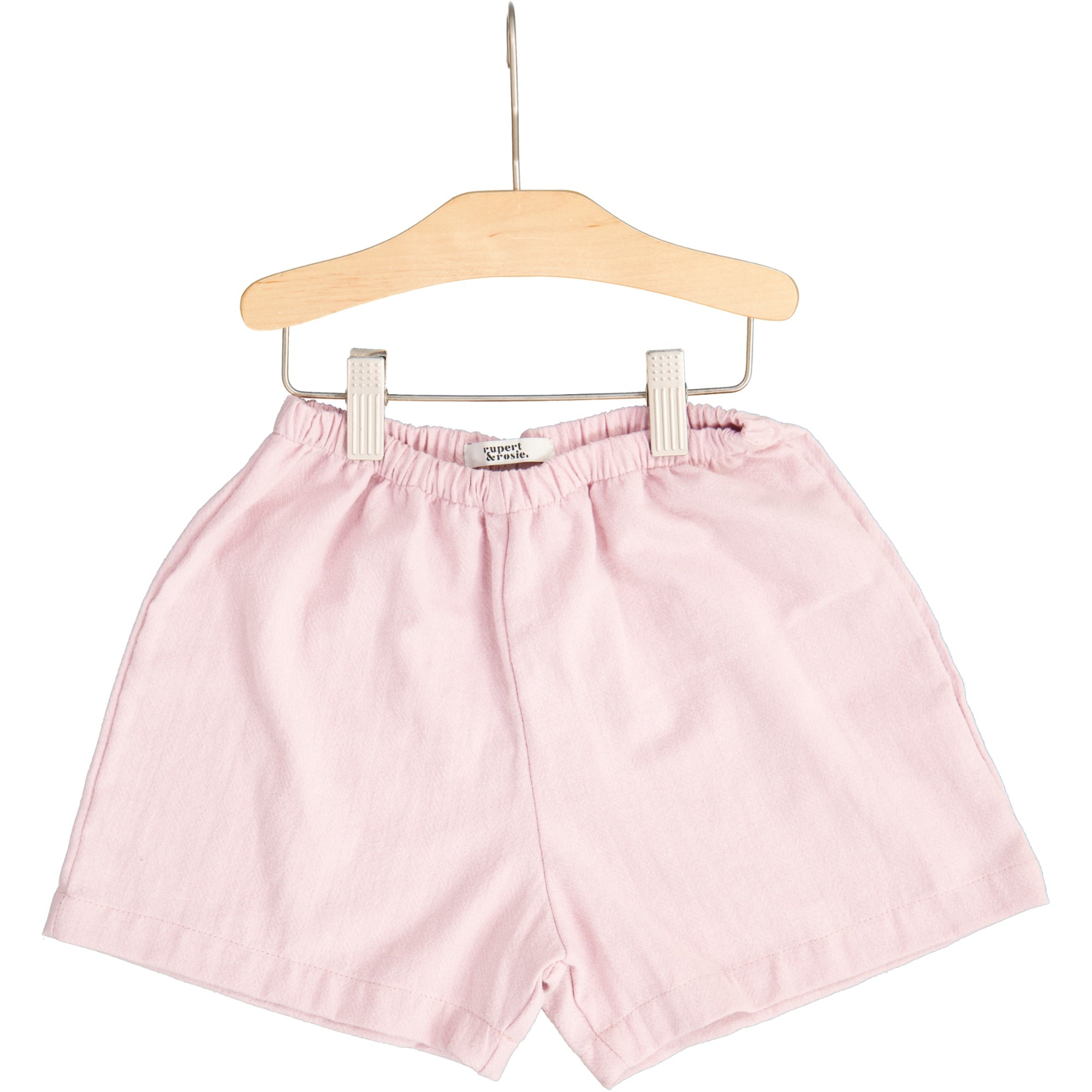 Rosewater Herringbone Cotton Flare Shorts