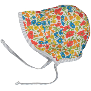 Liberty Reversible Sun Bonnet Poppy & Daisy print
