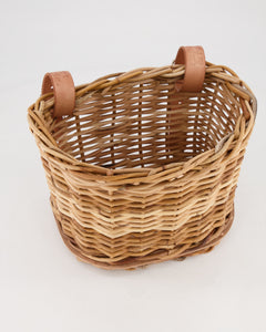 Hand-Woven Bike Basket with Leather Straps (Medium)