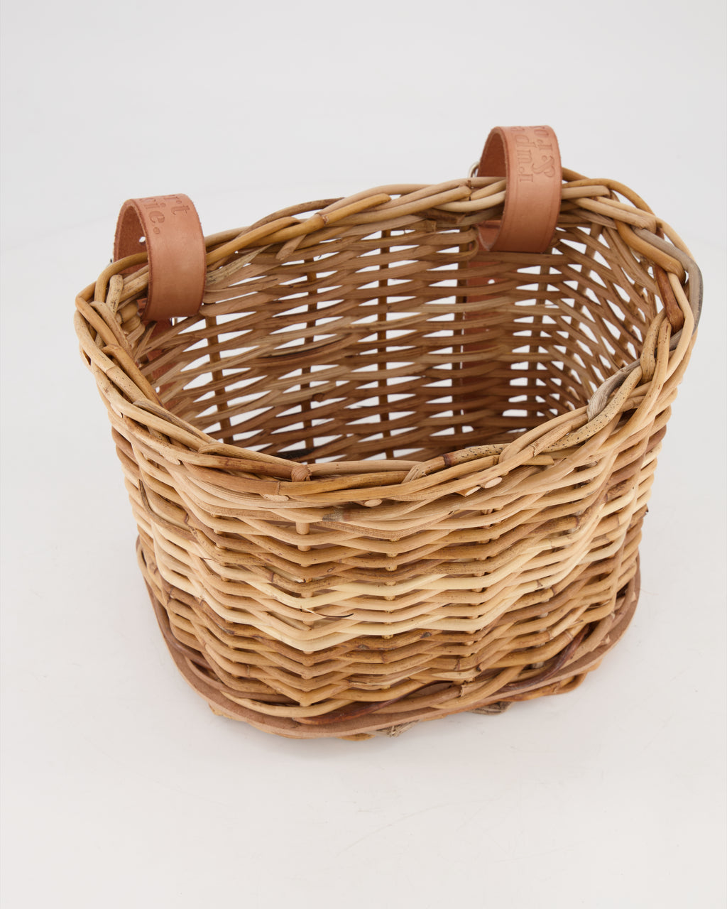 Hand-woven Bike Basket with Leather Straps (Small)