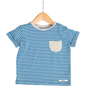 Noah Blue & White Stripe Short Sleeve Tee