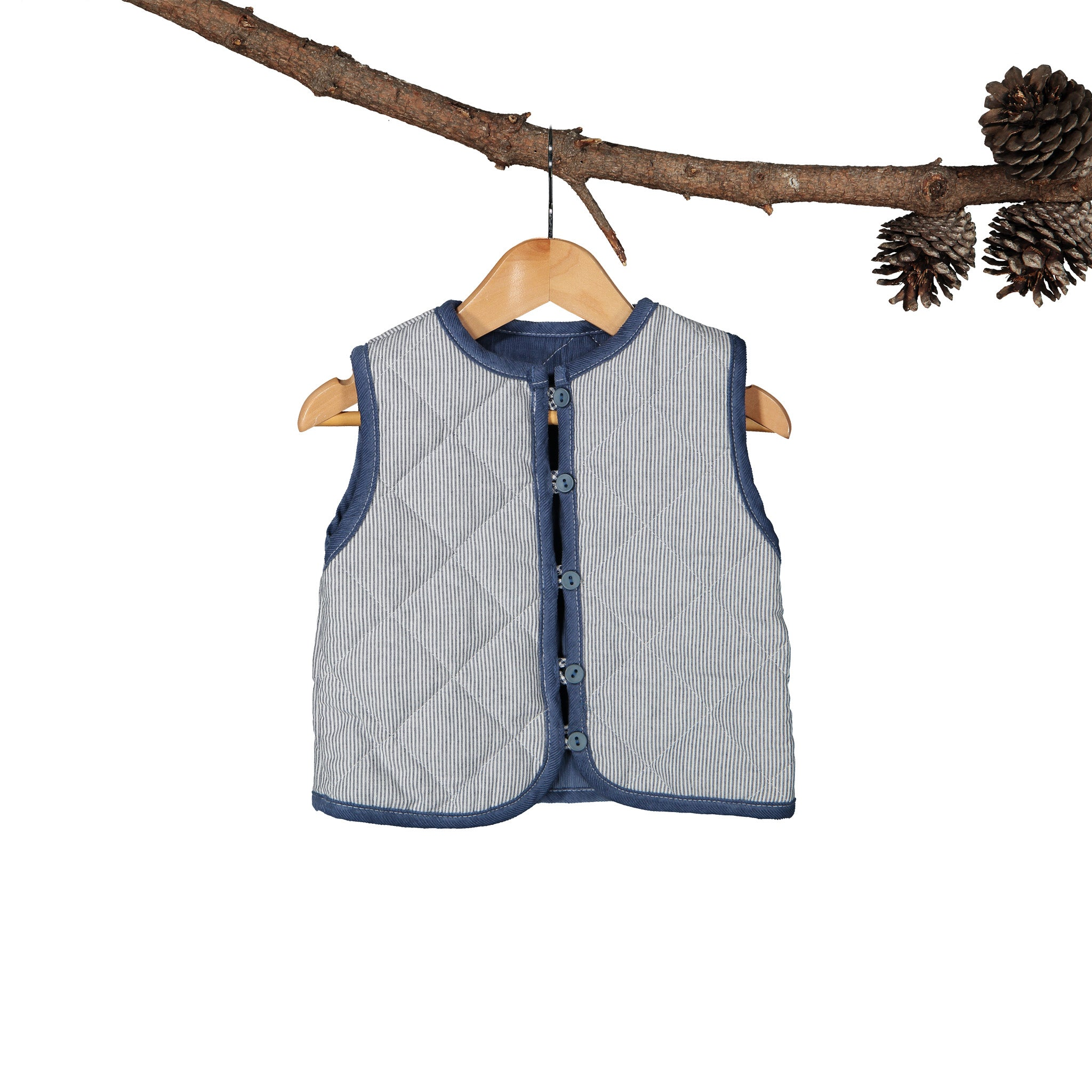 Air force Blue Corduroy Reversible Gilet With Navy Yarn Dye Stripe