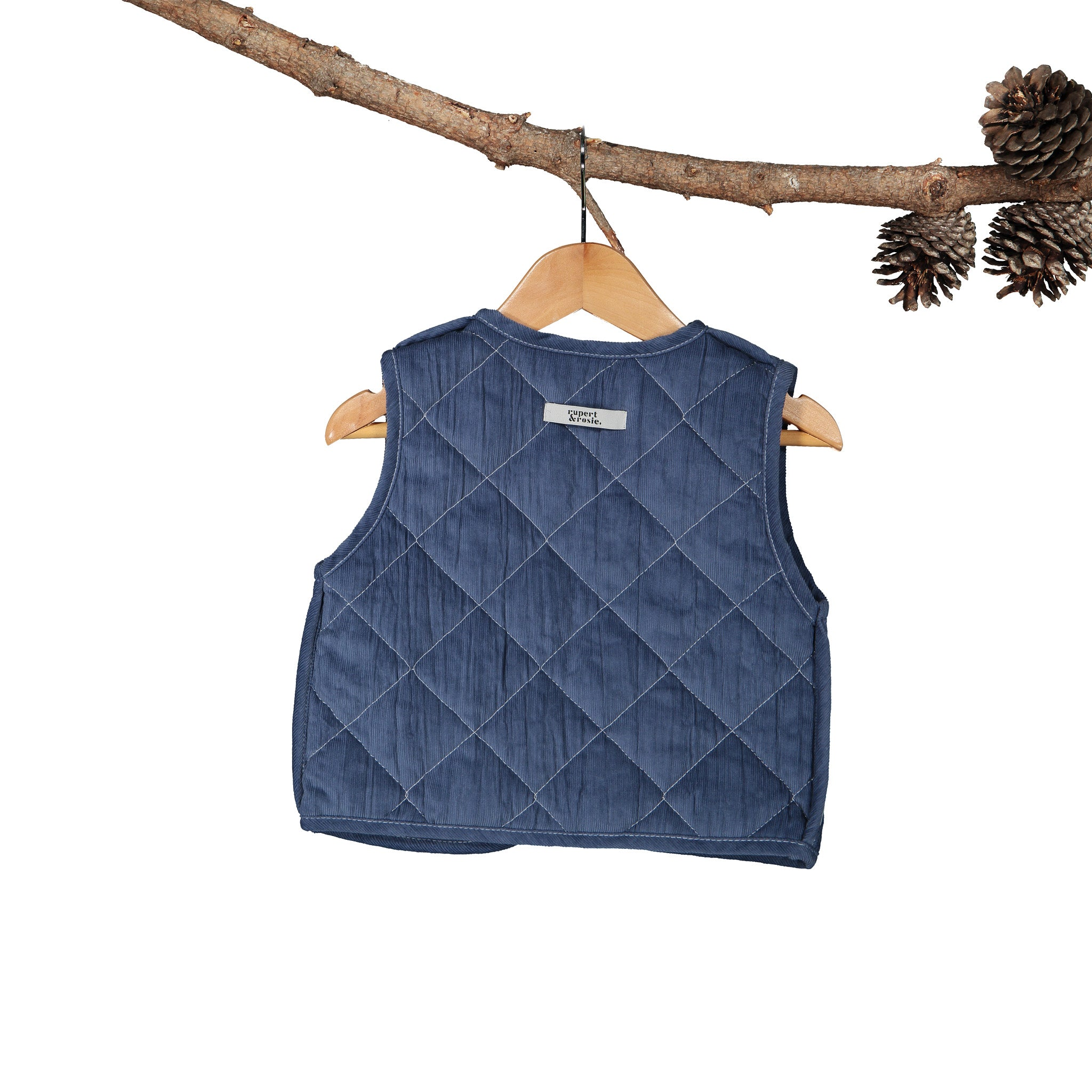 Reversible Gilet - Air-Force Blue Corduroy with Navy Stripe
