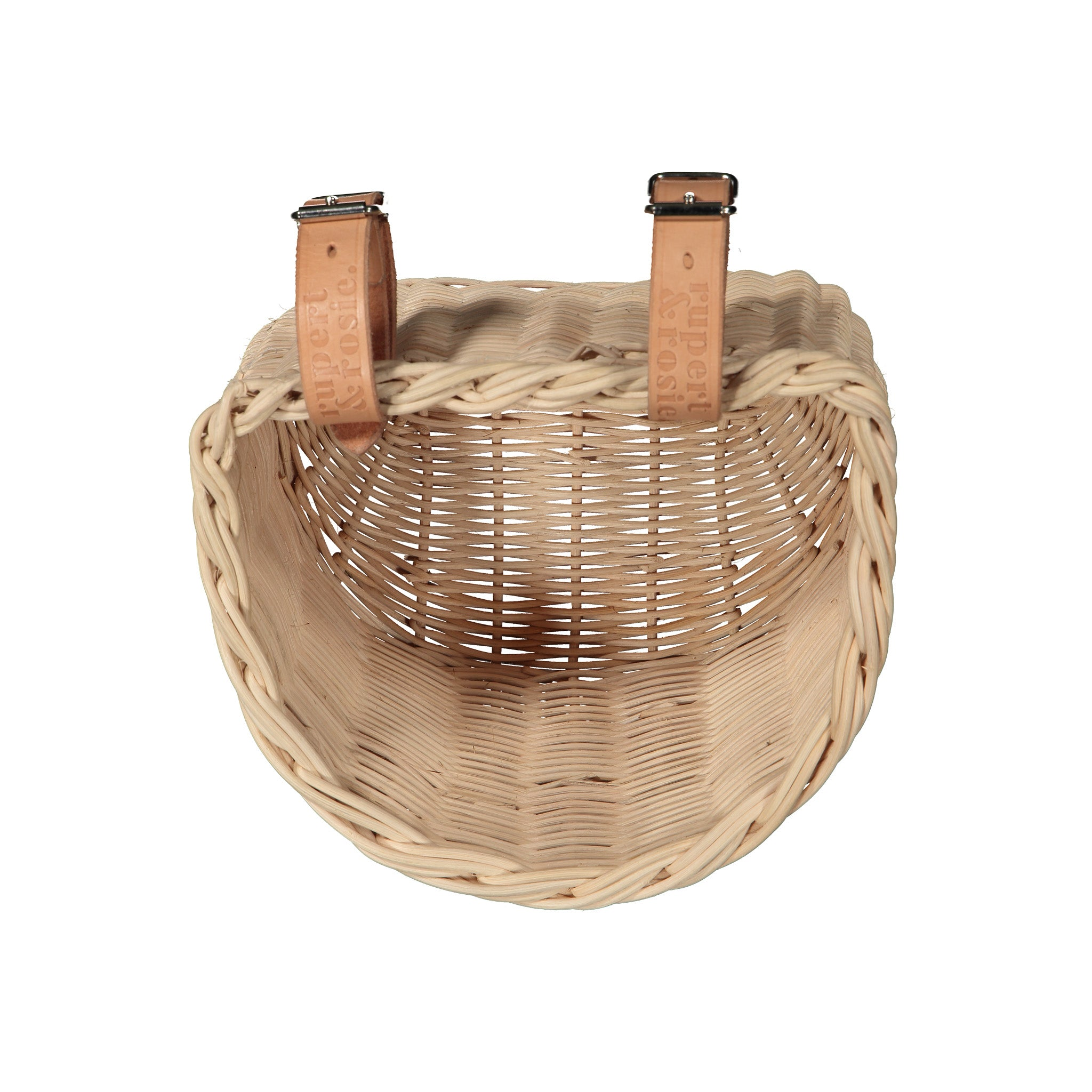 Hand-woven Cane Bike Basket With Leather Straps