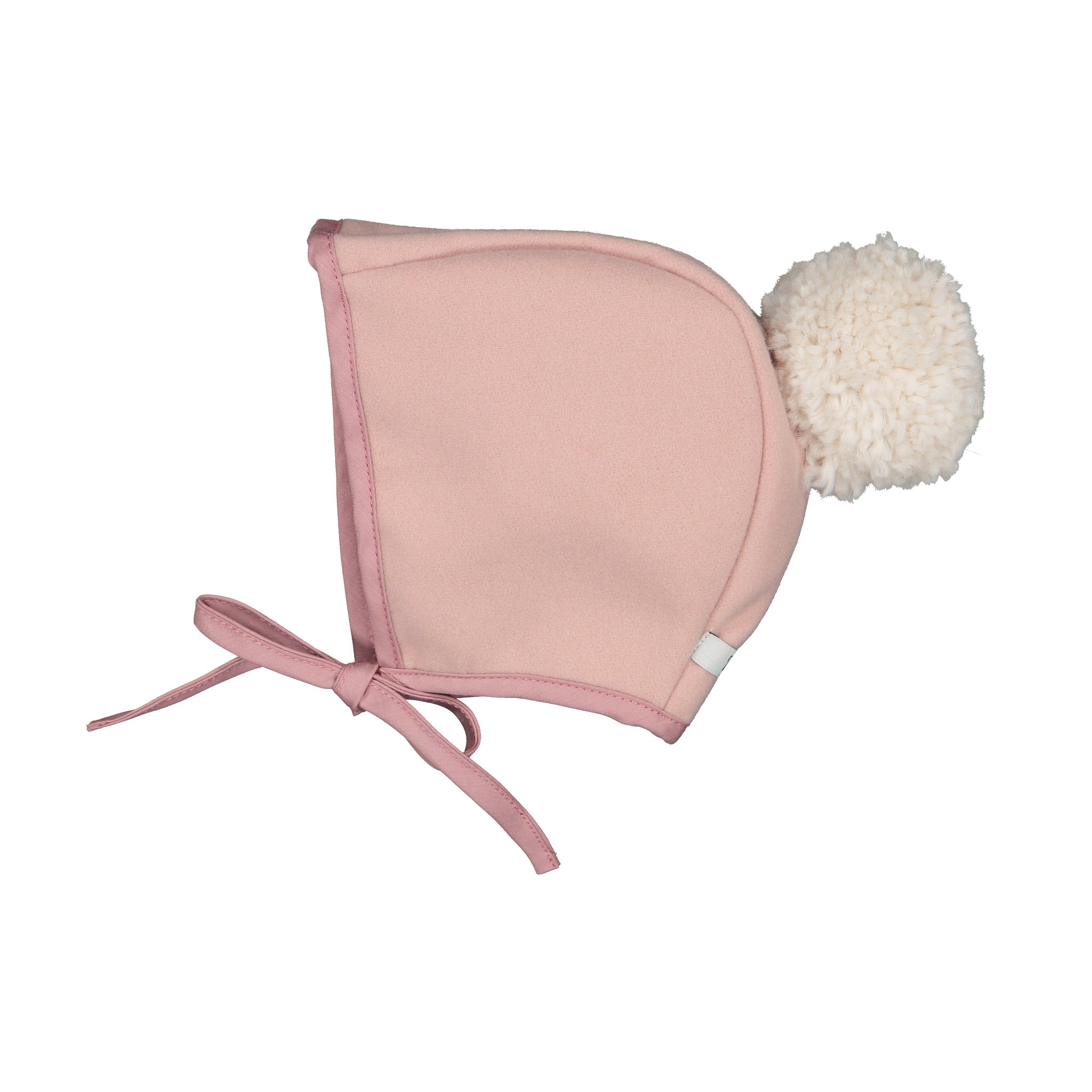 Winter Bonnet Blush Ivory Pom Pom/