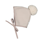 Winter Bonnet Dove-Tail Grey Ivory Pom pom