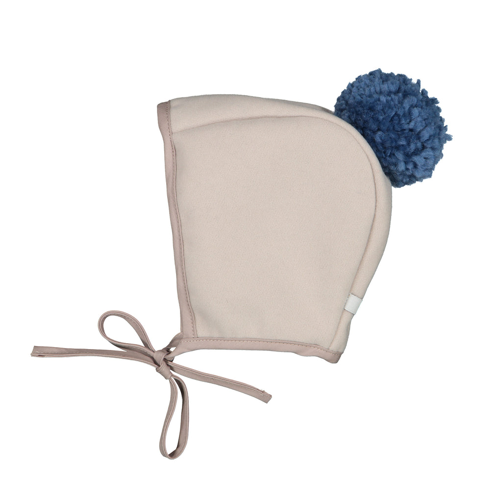 Winter Bonnet - Dove-Tail Grey Navy Pom Pom