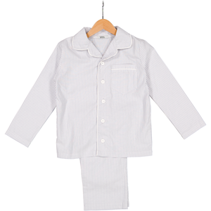 Kids Pyjama Set - Pure Yarn Dyed Cotton with Silver Stripe