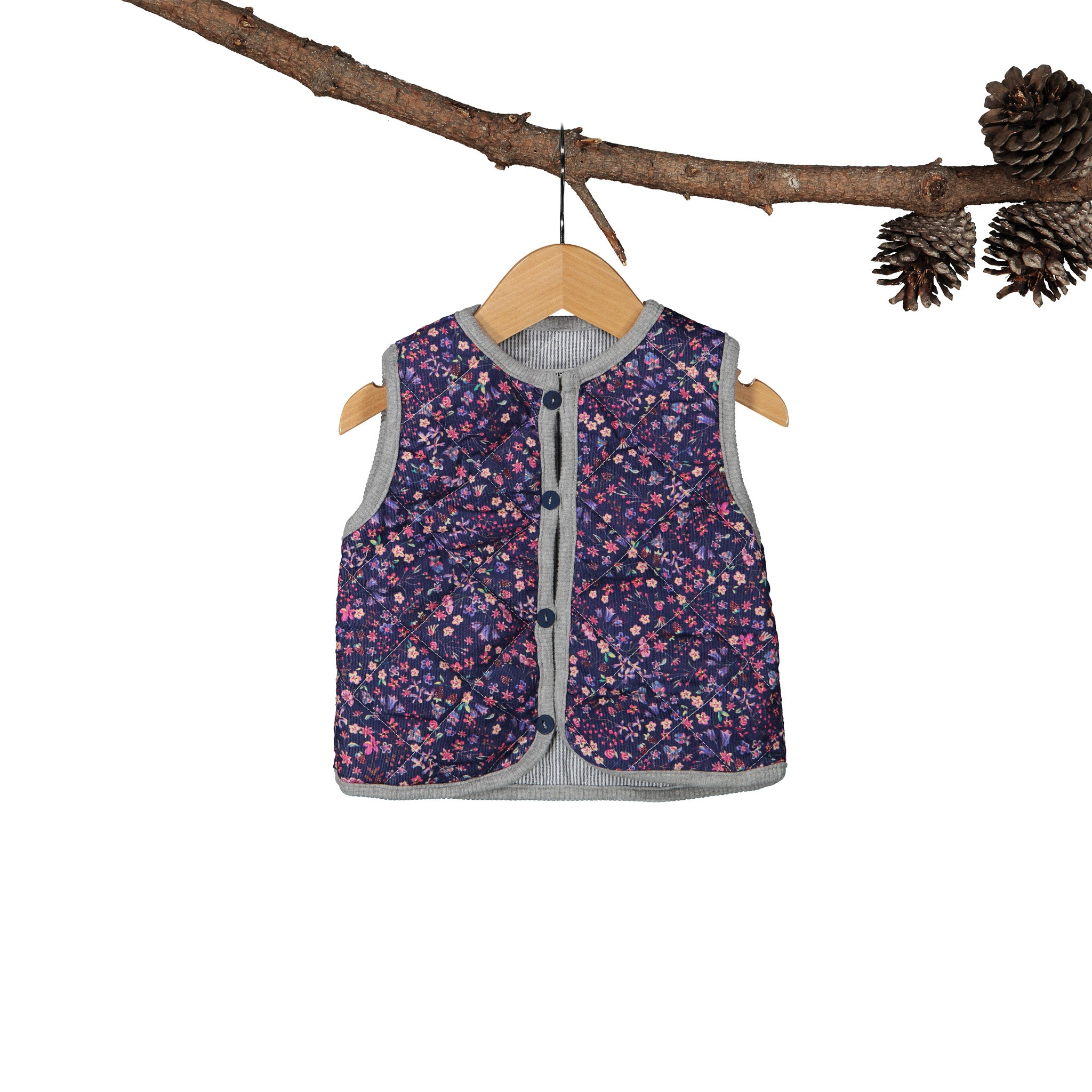 Reversible Gilet - Liberty Cord Navy Stripe