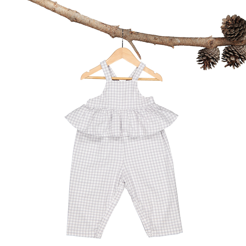 Maizey Silver Gingham Romper