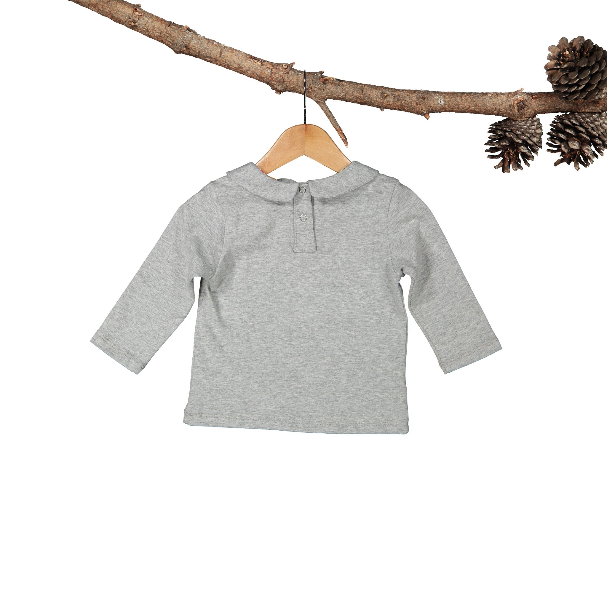 Peter Pan Collar Grey Melange Long Sleeve T-Shirt