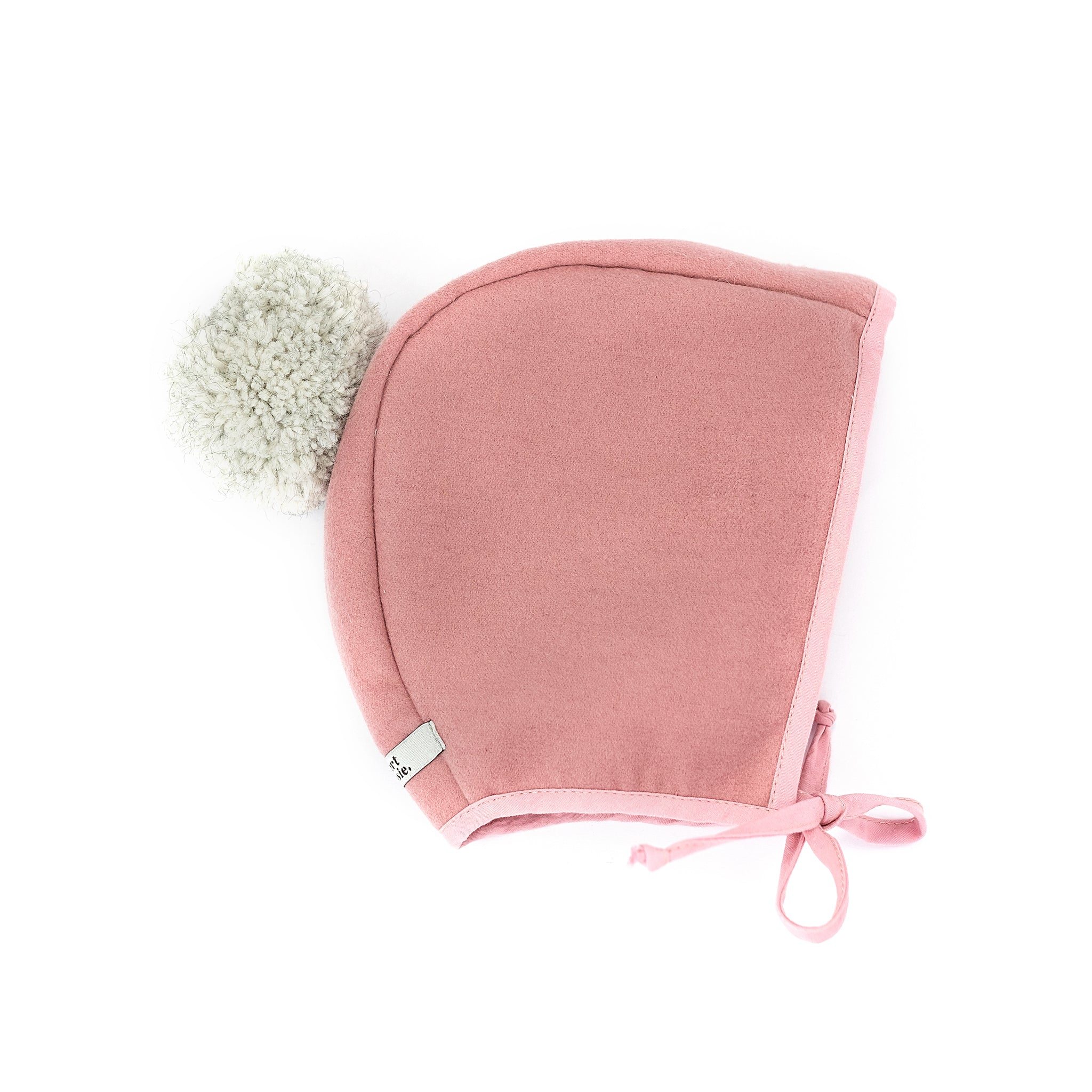 Melton Bonnet - Pink with Grey Pom Pom