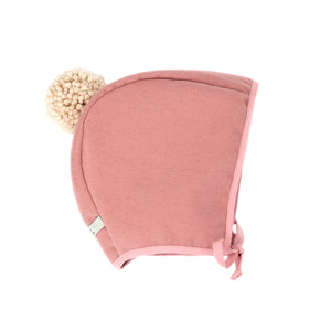 Winter Bonnet  - Pink with Blush Pom Pom