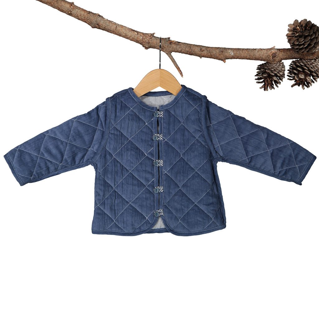 Sadie Coat Blue Corduroy With Navy White Yarn Dye Stripe Reversible