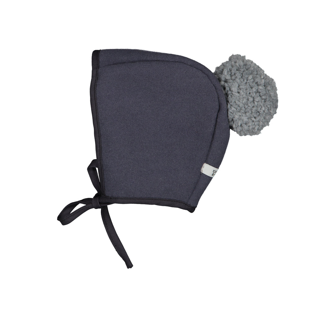 Winter Bonnet - Slate Grey Pompom
