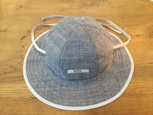 Reversible Sunhat-Blue Cotton Slub With Blue Pintripe