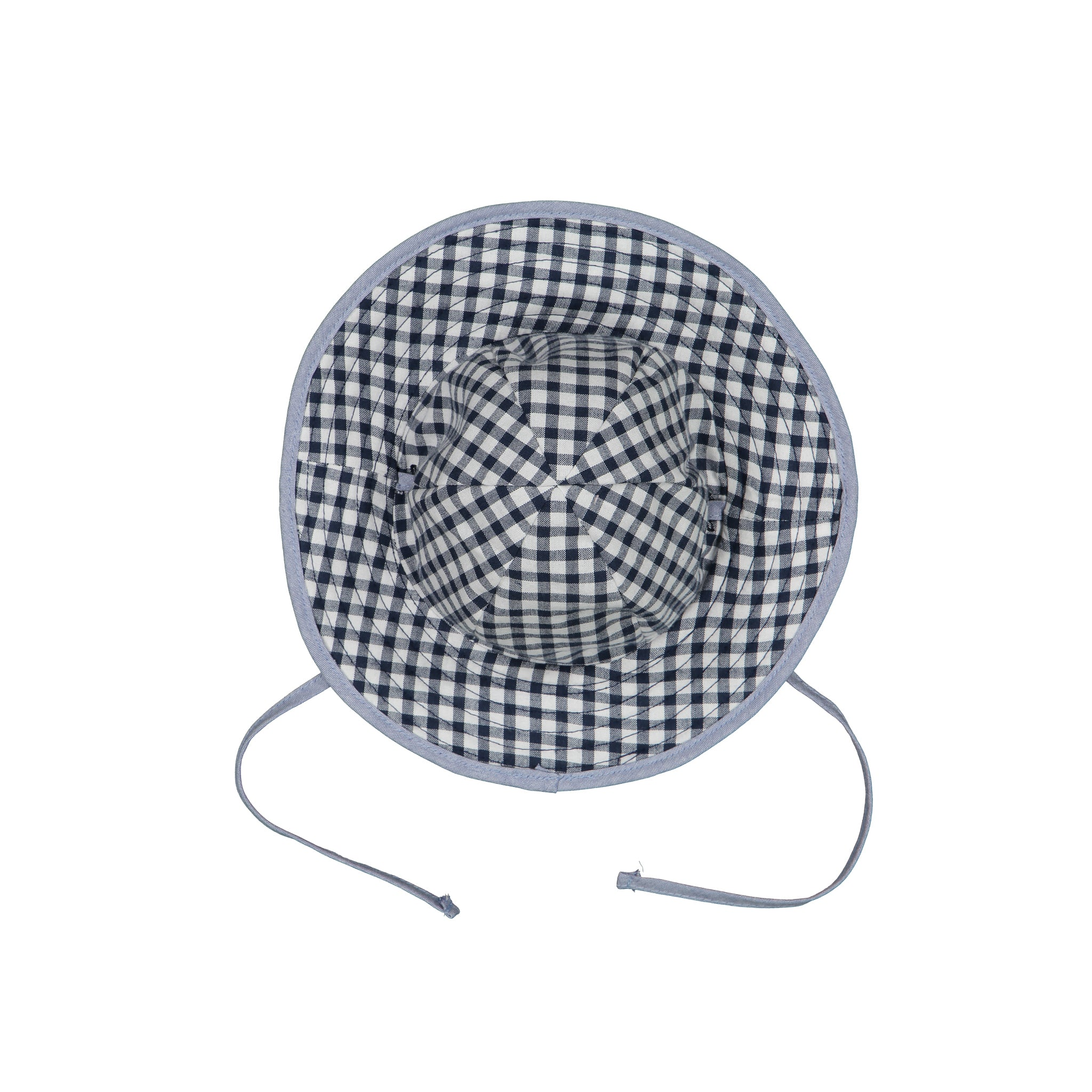 Navy gingham and denim reversible sunhat