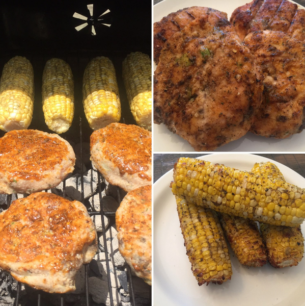 Cajun Turkey Burgers and Rosemary Corn on the Cobb
