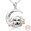 925 Sterling Silver Chain Pendant Necklace Fashion Jewelry Running Puppy with Rose For Women - holicpet