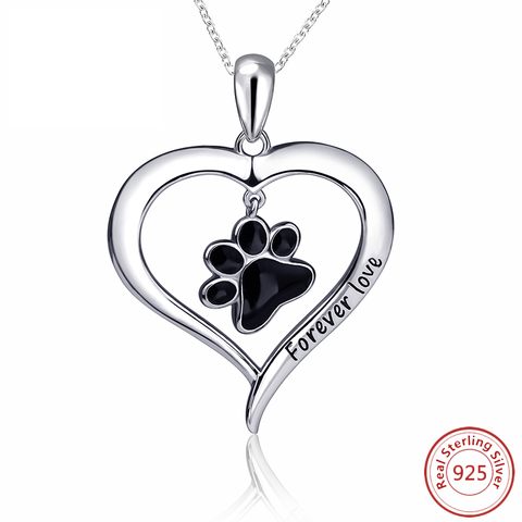 Dog Paw Necklace Girl Chain 925 Sterling Silver Love Heart Necklaces & Pendants For Women - holicpet