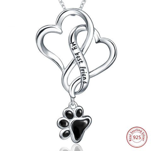 925 Sterling Silver Chain Pendant Necklace Fashion Jewelry Dog Paw with Love Heart  For Women - holicpet