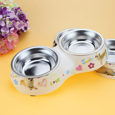 Dog Feeder Double Removable Stainless Steel With Melamine Plastic - holicpet