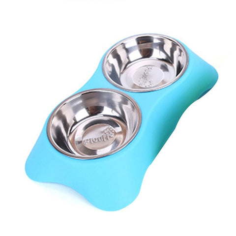 Stainless Steel Double Pet Bowls for Dog Puppy Cats Food Water - holicpet