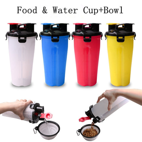 Dog Water Bottle Food Bottle  Outdoor Travel Foldable Bowl for Cat Dog Pet - holicpet