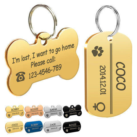 Personalized Dog ID Tag Stainless Steel Customized Engraved Name Birthday Phone No. - holicpet