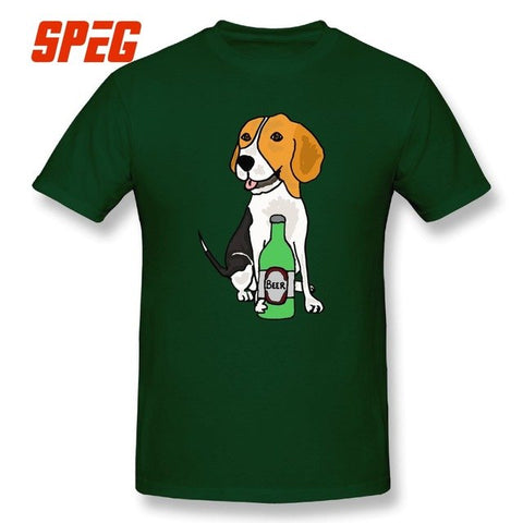 Cute Beagle Hound Dog Drinking Beer Cartoon T Shirts for men - holicpet