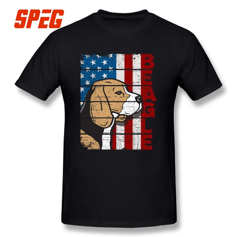 Beagle Dog T Shirts American Flag for men - holicpet