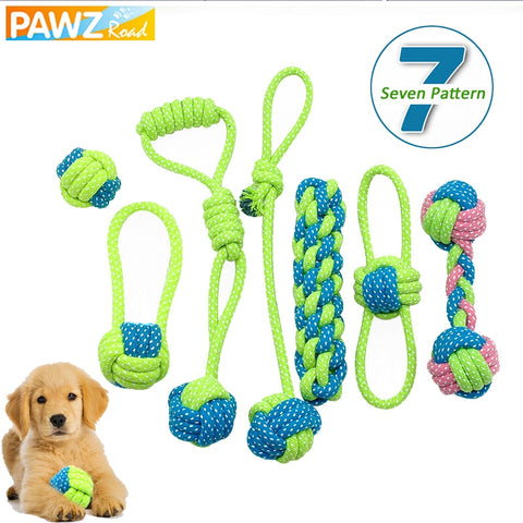 7pcs PAWZRoad Cotton Dog Teething Toy playing ball for dog - holicpet