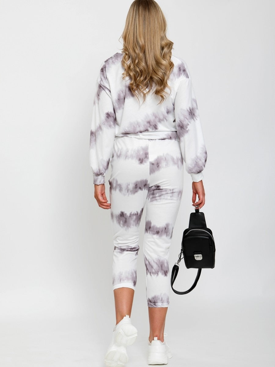 White Grey Tie Dye Top & Jogger Co-ord Suit - Ruby