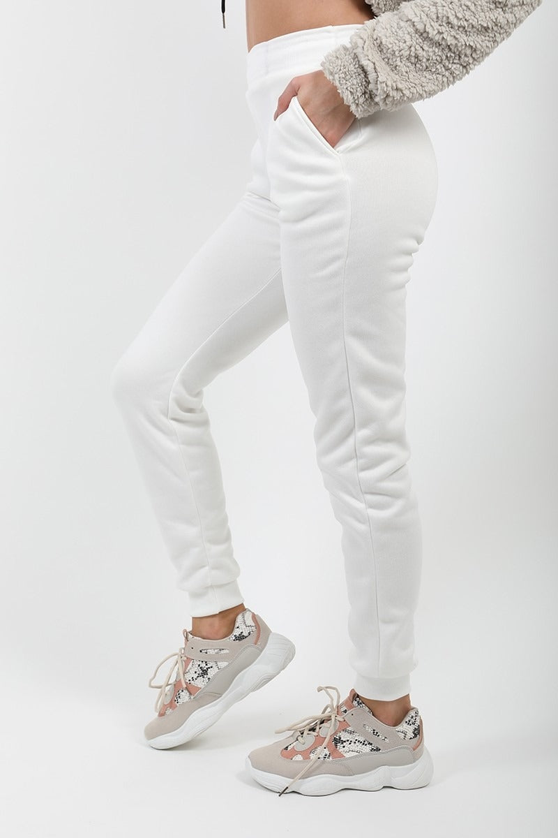 White Slim Fit Jogger Pants - Stephanie