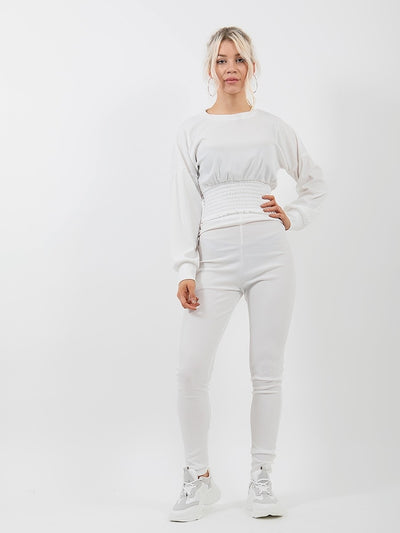 Off White Shirred Hem Ribbed Top & Trouser Co-ord - Nadia