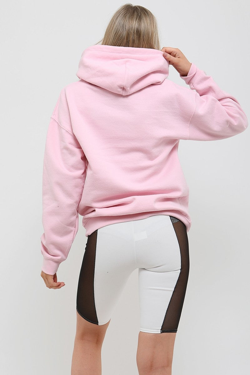 Baby Pink Distorted Graphic Fleeced Hoodie - Zora