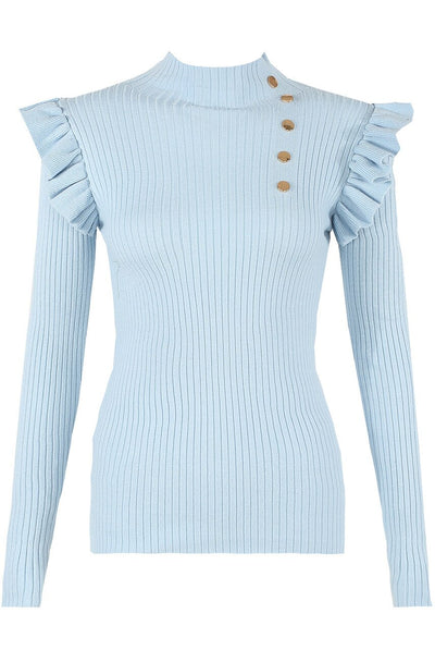 Blue Gold Button Frill Ribbed Jumper - Arya