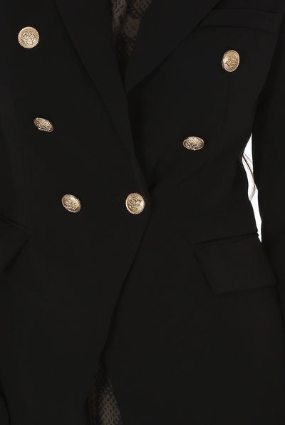 Black Golden Button Double Breast Blazer - Eden - storm desire