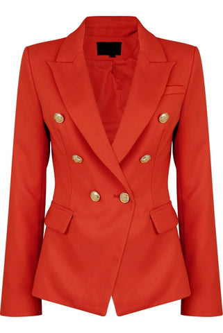 Red Golden Button Double Breast Blazer - Eden